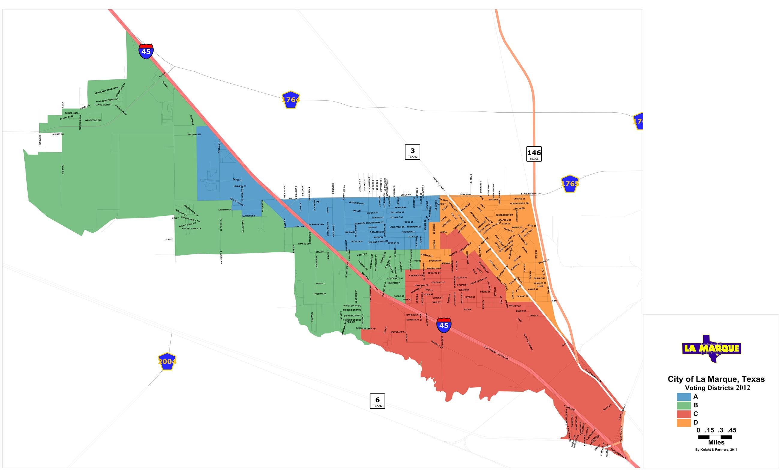 La Marque City Council Voting District Map