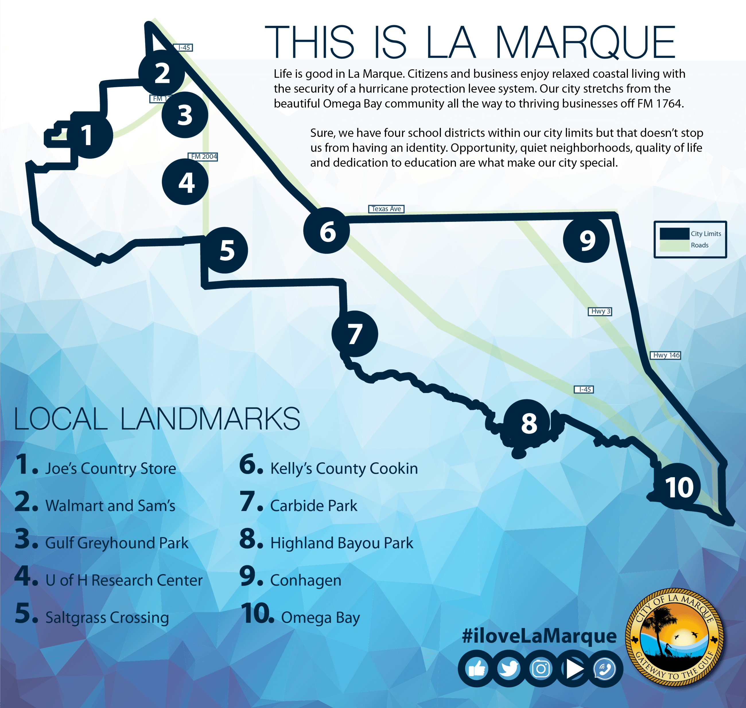 Map of La Marque showing landmarks